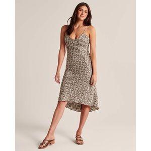 Abercrombie & Fitch Tie Back Satin Midi Dress